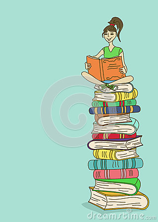Illustration with girl sitting on a stack of books and reading
