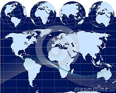 Illustration of globes with world map