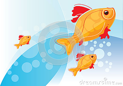 Illustration with gold fish
