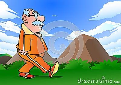 Grandpa jogging