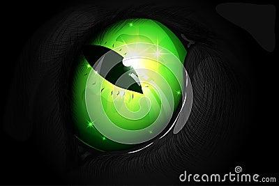 Illustration of a green cat eye Vector Illustration