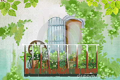 Illustration green wall outside the balcony stock for Balcony cartoon