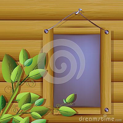 Illustration of grey plank with wooden frame