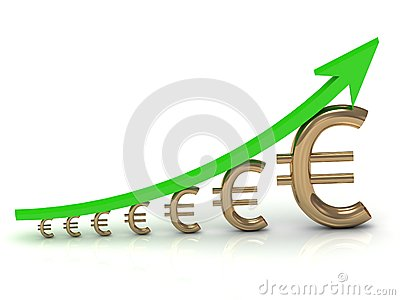 Illustration of the growth of the euro with a green arrow