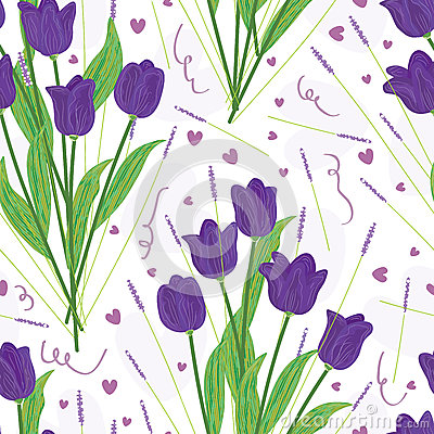 Purple Tulip Seamless Pattern_eps