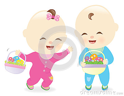 Babies holding Easter baskets