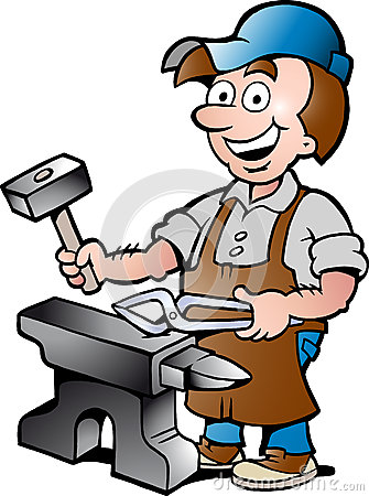 Illustration of an Happy Blacksmith Worker