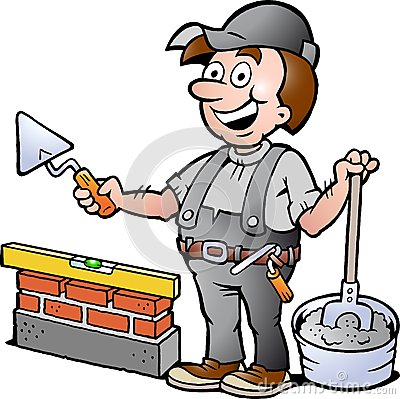 Illustration of an Happy Bricklayer Handyman