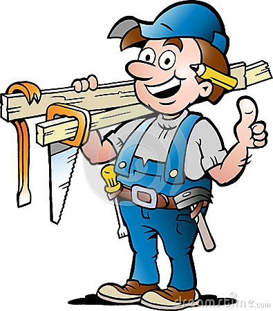 Illustration of an Happy Carpenter Handyman