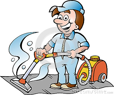 Illustration of a Happy Carpet Cleaner