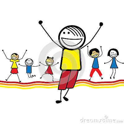 Illustration of happy children(kids)jumping & danc