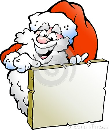 Illustration of an Happy Santa pointing to a sign