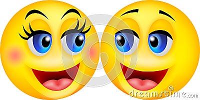 Happy smiley couple cartoon
