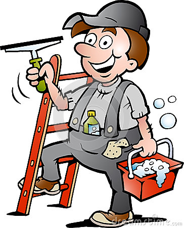 Illustration of an Happy Window Cleaner