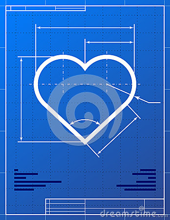 Illustration of heart like blueprint drawing