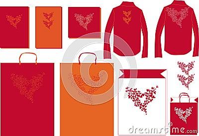 Illustration heart together bag postcard