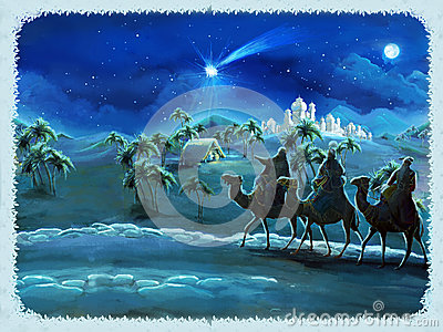 The illustration of the holy family and three kings traditional