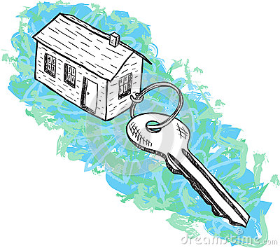 Illustration of house and key