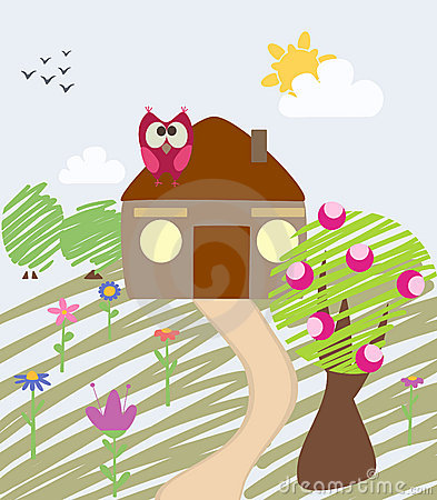 Illustration of house and owl
