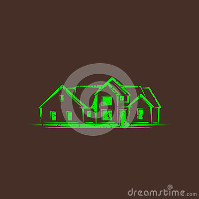 Illustration with a house. real estate sign
