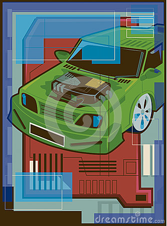 Illustration of a hybrid vehicle