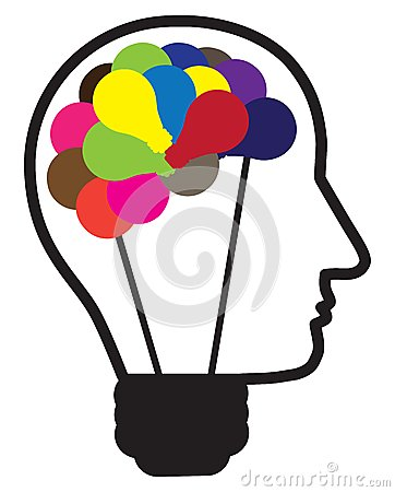 Illustration of idea light bulb as human head