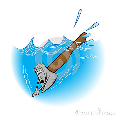 Illustration idiom an axe in water.