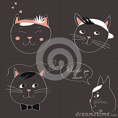 Illustration with the image of four cats and text Who do you choose on a gray background. Vector Stock Photo