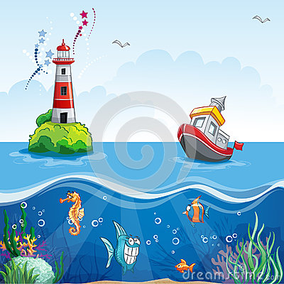 Free Illustration In Cartoon Style Of A Ship At Sea And Fun Fish Stock Photography - 43261692
