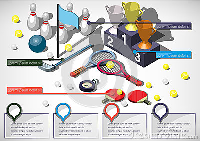 Illustration of info graphic sports equipment concept Vector Illustration