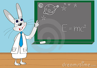 Illustration of intelligent rabbit lecture