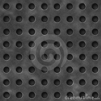 Illustration of iron grate with circular holes