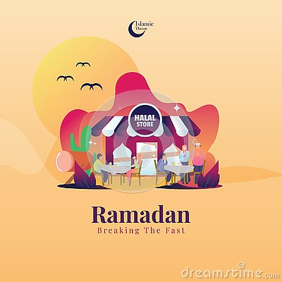 Illustration For Islamic Ramadan Greetings - Braking The Fast Vector Illustration