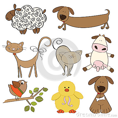 Illustration of isolated farm animals set