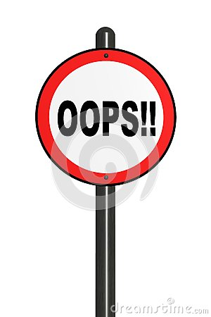 Illustration of isolated oops! road sign.