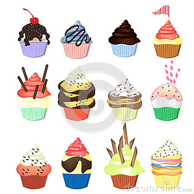 Illustration of isolated set of cupcakes  on white
