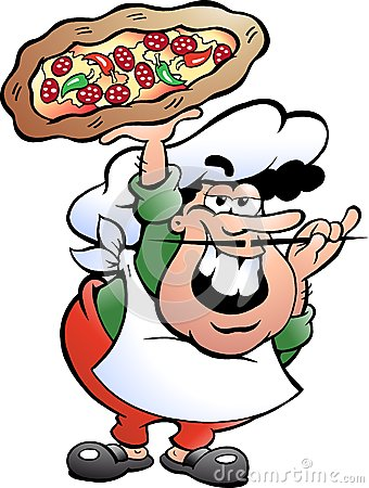 Illustration of an Italian Pizza Baker