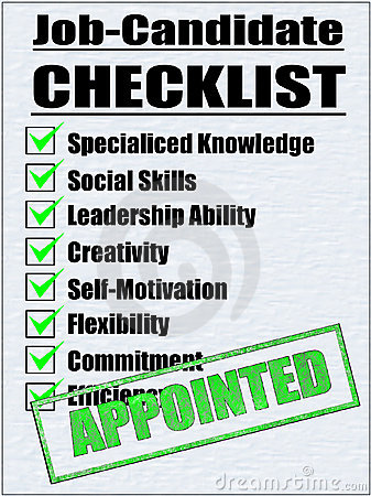 Illustration of a Job-Candidate Checklist
