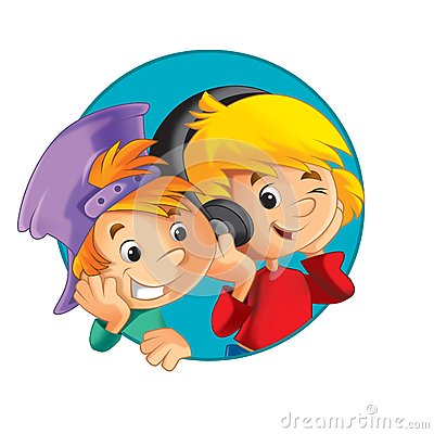 The illustration of the kids - button - icon form - in circle - ellipse - decor good for ad or wrapping