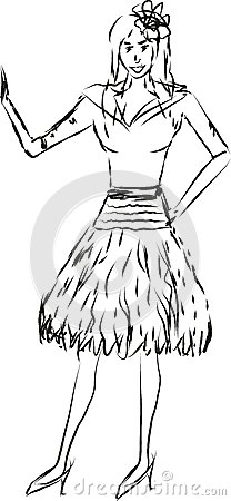 Illustration of a lady waving to someone