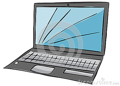 Illustration of laptop with blue screen