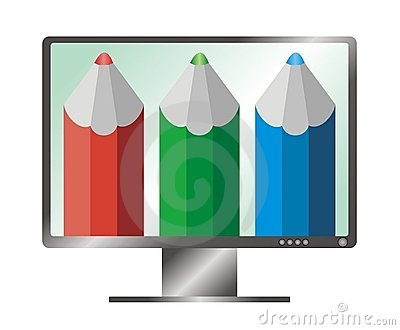 Illustration of LCD monitor and red, green, blue (