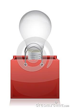 Illustration of light bulb in red bag