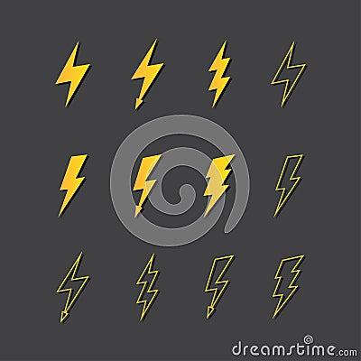 Illustration of lightning icon set