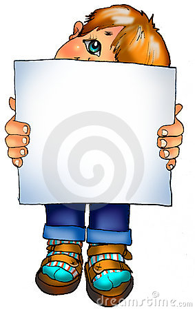 Illustration. Little boy with a blank sign