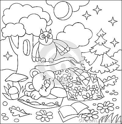 Illustration of little sleeping bear for coloring. Black and white worksheet for children. Vector Illustration