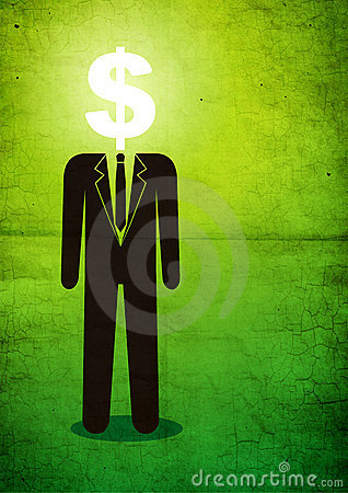 Illustration of man with a dollar sign