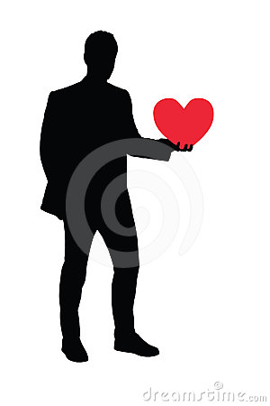 Illustration of a man holding a heart
