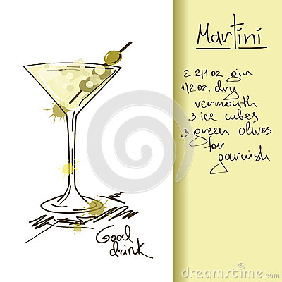 Illustration with Martini cocktail