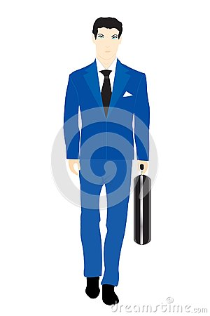 Illustration Men In Turn Blue Suit With Valise Stock Photos - Image: 24995693